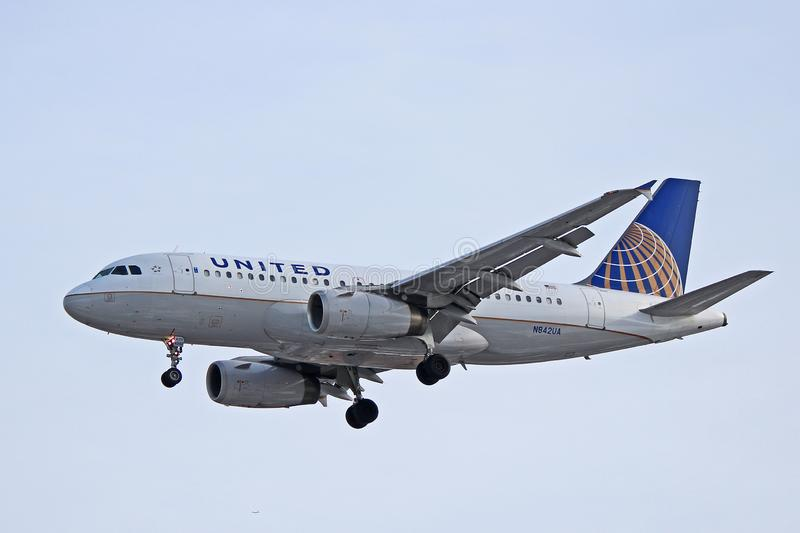 United Airlines Airbus A319-100 Profile. A United Airlines Airbus A319-100 photographed on final approach to Toronto Pearson International Airport. The A319 has stock image