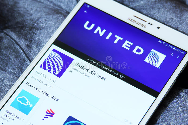 United airlines mobile app editorial photography  Image of