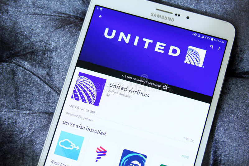 United Airlines App On Google Play Editorial Stock Photo