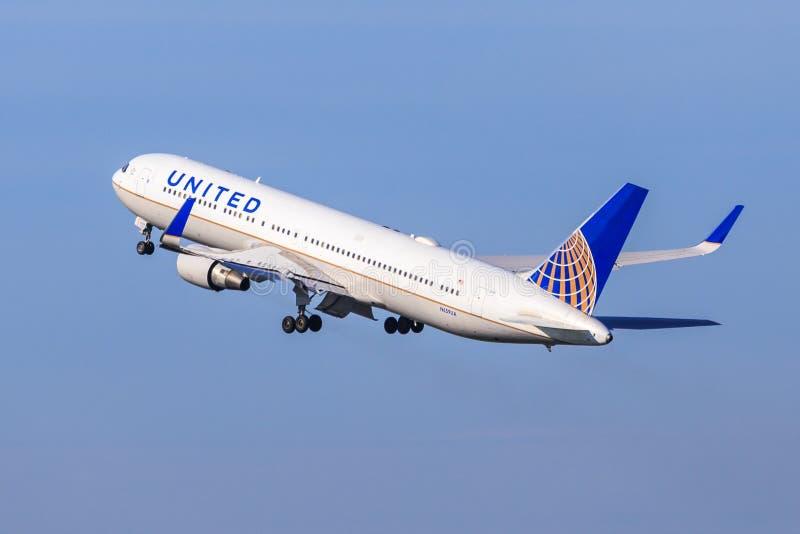United Airlines Boeing 767 fotografia stock