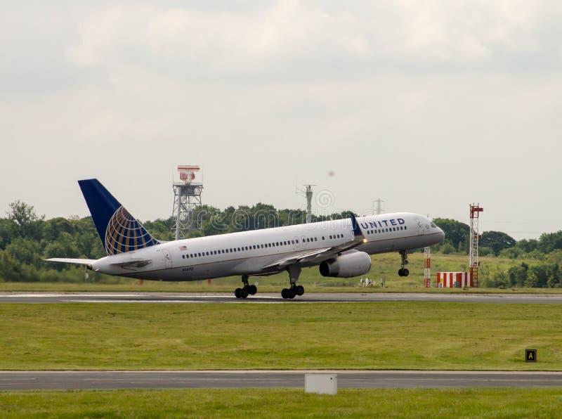 United Airlines Boeing 757 foto de archivo libre de regalías