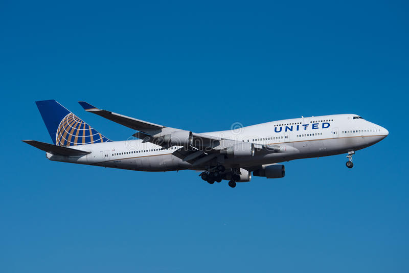 United Airlines Boeing 747 στοκ φωτογραφία με δικαίωμα ελεύθερης χρήσης