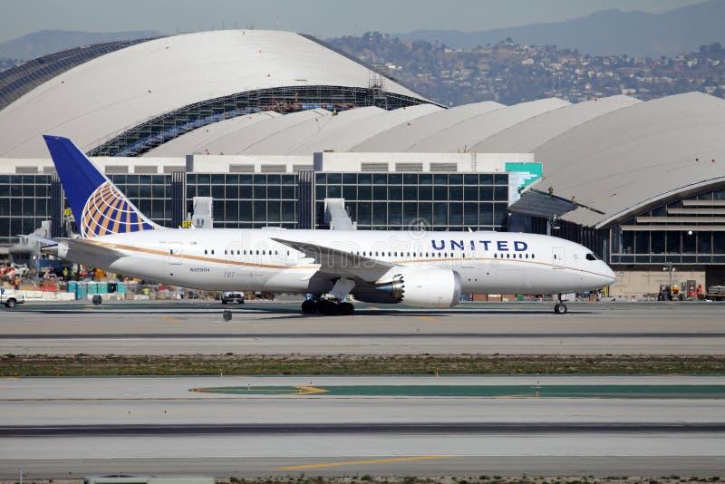 United Airlines Boeing 787-8 Dreamliner immagini stock libere da diritti