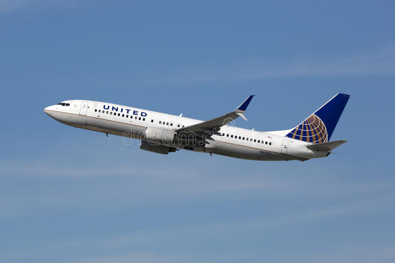 United Airlines Boeing 737-800 flygplan royaltyfri fotografi