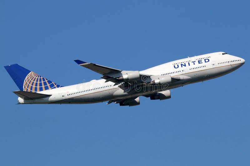 United Airlines Boeing 747-400 samolot obrazy royalty free