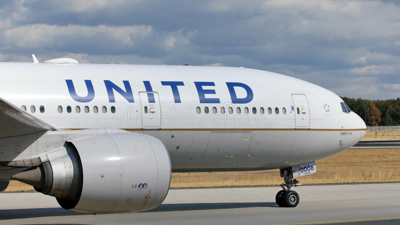 United Airlines doing taxi on Munich Airport, MUC, close-up view royalty free stock photography