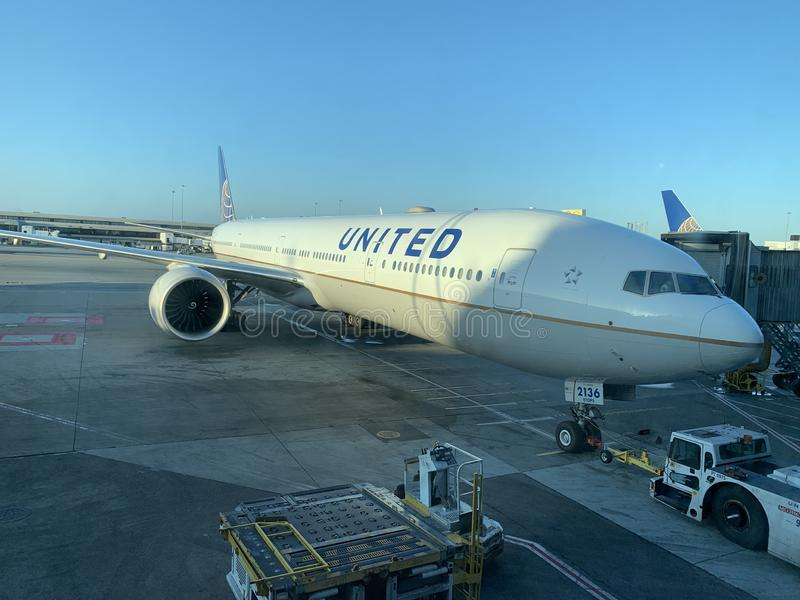 United Airlines 777-300ER at gate royalty free stock photos