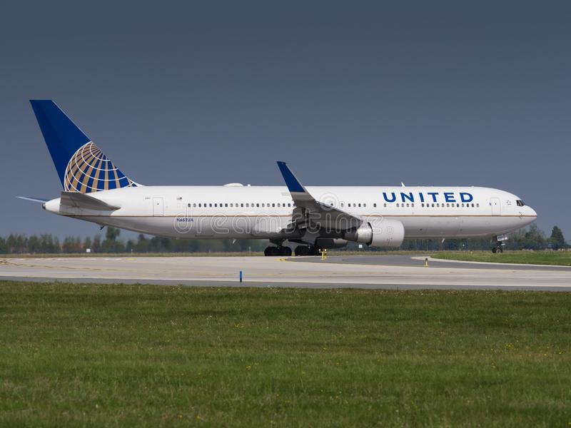 United Airlines UAL/UA  Boeing B767-322/ER at Vaclav Havel airport Prague PRG royalty free stock photography