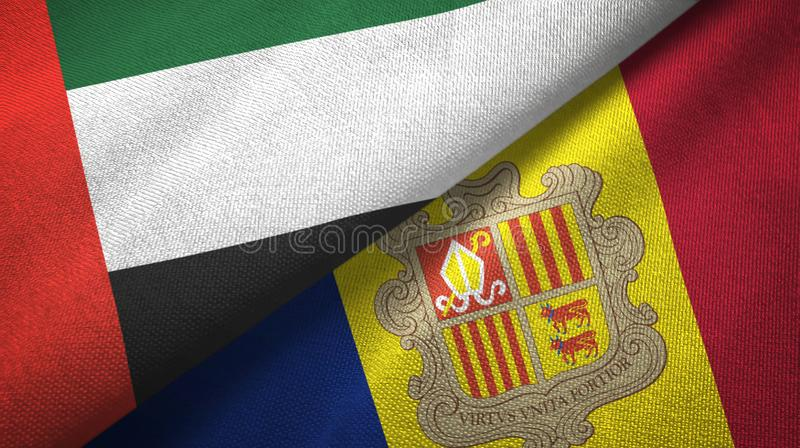 United Arab Emirates and Andorra two flags textile cloth, fabric texture. United Arab Emirates and Andorra two folded flags together vector illustration