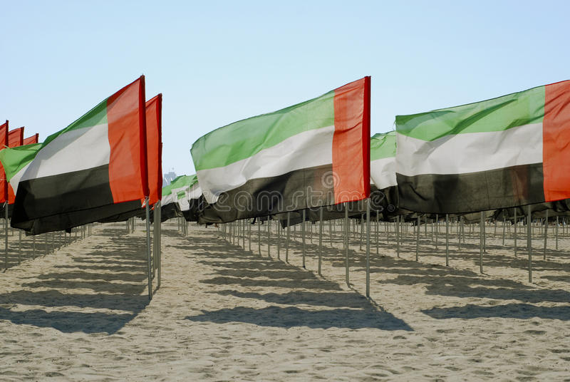 United Arab Emirates close-up flags view. United Arab Emirates close-up flags royalty free stock images