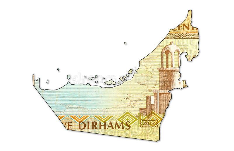 5 united arab emirates dirham bank note in shape of uae. 5 united arab emirates dirham bank note full frame reverse in shape of uae, specimen royalty free stock image