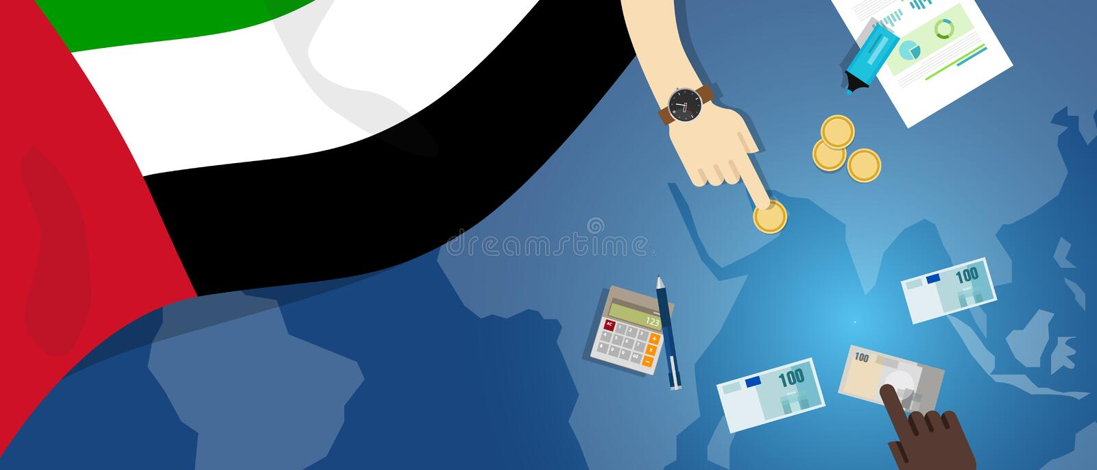 United Arab Emirates economy fiscal money trade concept illustration of financial banking budget with flag map and. Currency vector vector illustration