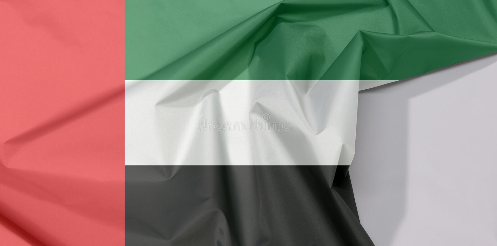 United Arab Emirates fabric flag crepe and crease with white space. stock images