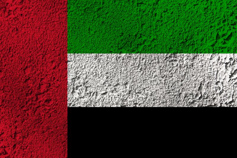 United Arab Emirates flag on the background texture. Concept for designer solutions.  royalty free stock images