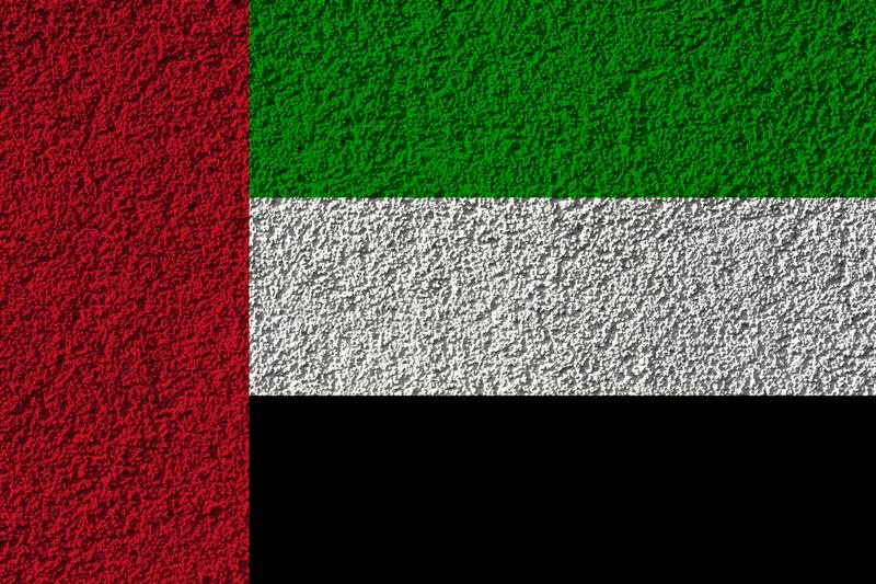 United Arab Emirates flag on the background texture. Concept for designer solutions.  royalty free stock image