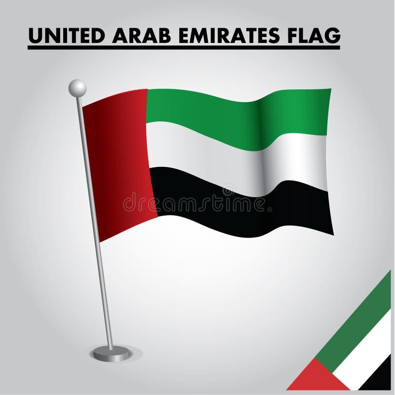 UNITED ARAB EMIRATES flag National flag of UNITED ARAB EMIRATES on a pole royalty free illustration