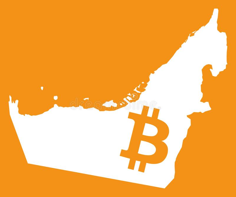 United Arab Emirates Map With Bitcoin Crypto Currency Symbol Ill