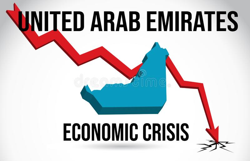 United Arab Emirates Map Financial Crisis Economic Collapse Market Crash Global Meltdown Vector. Illustration stock illustration