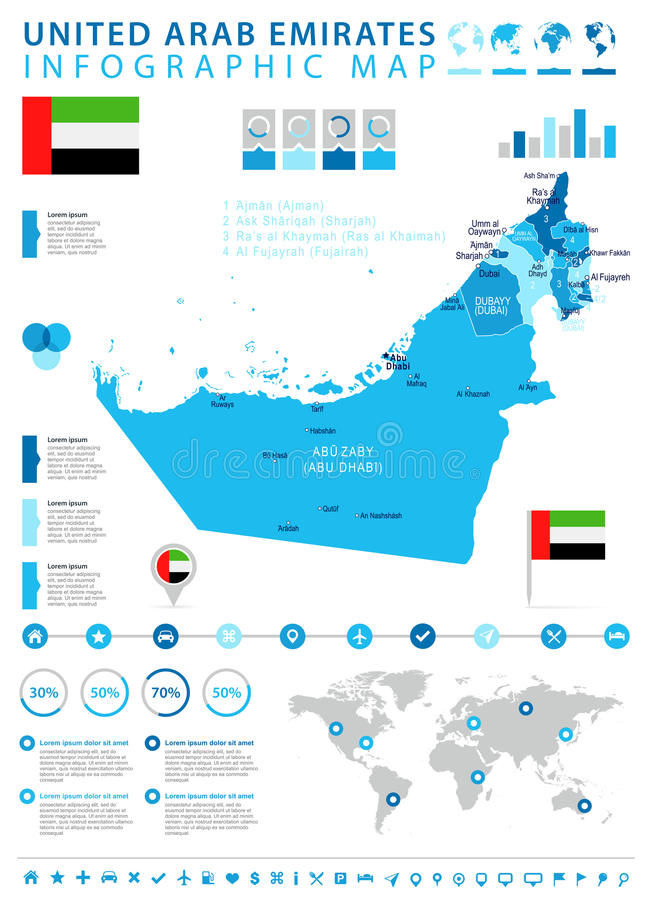 United Arab Emirates Map And Flag Infographic Illustration Stock
