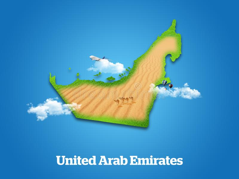 United Arab Emirates Map. Green grass, sky and cloudy concept. vector illustration