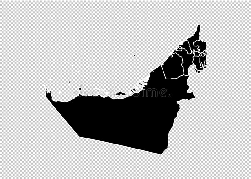 United Arab Emirates map - High detailed Black map with counties/regions/states of Arab Emirates. UAE map isolated on transparent stock illustration