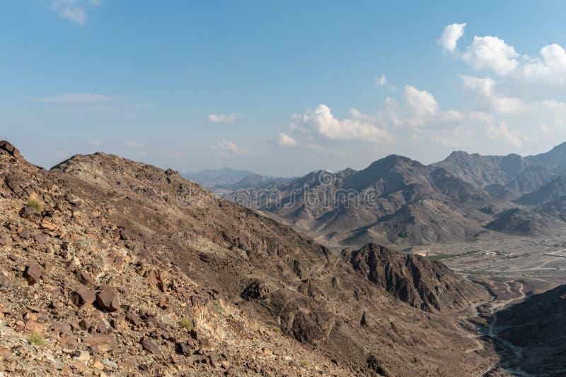 United Arab Emirates mountains view form Wadi Al Qor to Buraq Dam highest place around 800 meters.  royalty free stock image