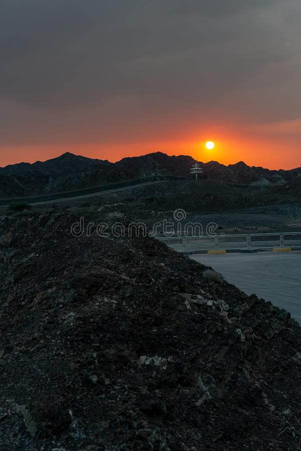 United Arab Emirates mountains view form Wadi Al Qor to Buraq Dam highest place around 800 meters.  royalty free stock photo