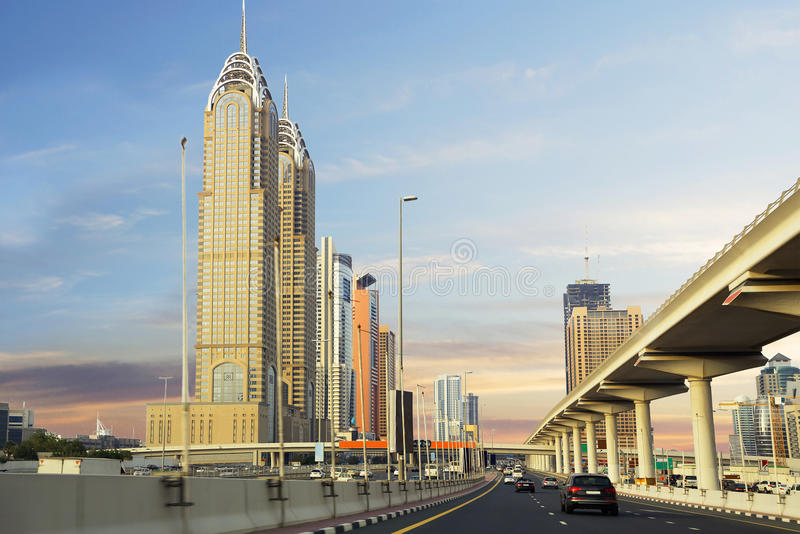 The United Arab Emirates. , Sheikh Zayed Road. The Sheikh Zayed road in Dubai is the main and longest street of the Emirate. Its length is 55 km away. In fact royalty free stock photos