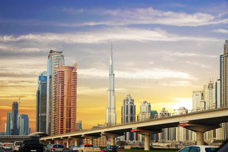The United Arab Emirates. , Sheikh Zayed Road. The Sheikh Zayed road in Dubai is the main and longest street of the Emirate. Its length is 55 km away. In fact stock photo