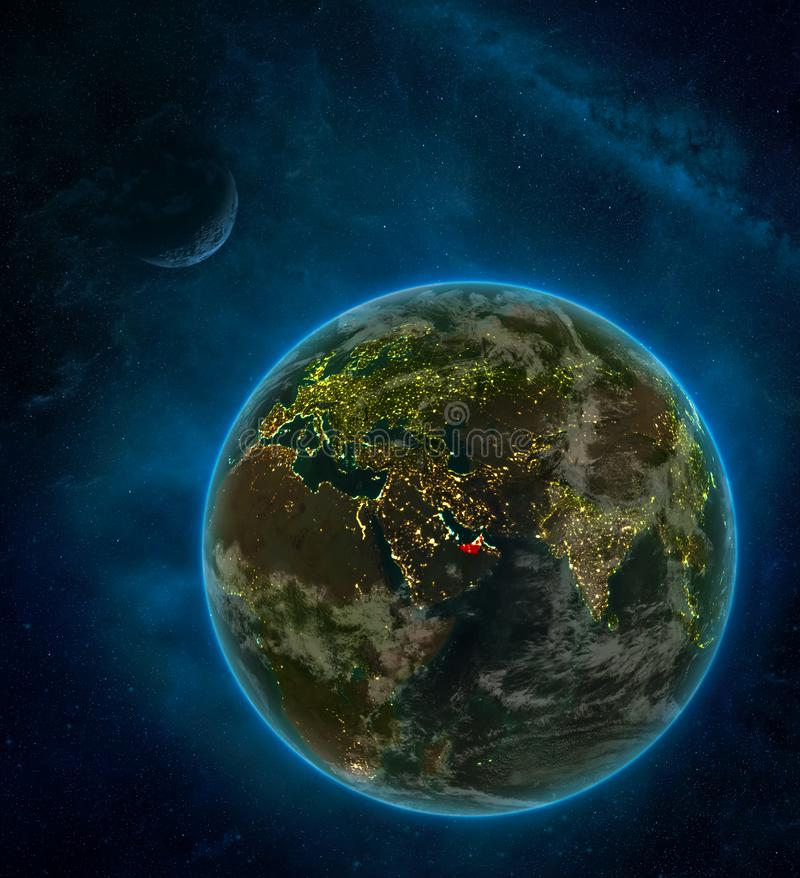 United Arab Emirates from space on Earth at night surrounded by space with Moon and Milky Way. Detailed planet with city lights. And clouds. 3D illustration stock illustration