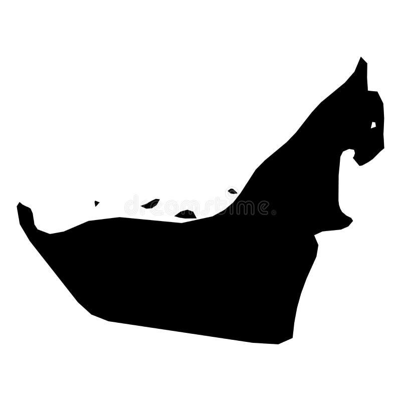 United Arab Emirates, UAE - mapa negro sólido de la silueta del área del país Ejemplo plano simple del vector stock de ilustración