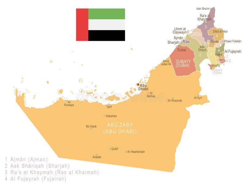United Arab Emirates Vintage Map And Flag Illustration Stock
