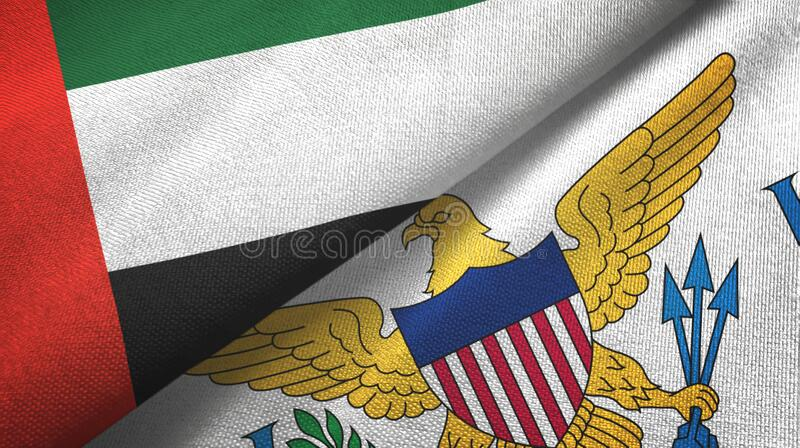United Arab Emirates and Virgin Islands United States two flags textile cloth. United Arab Emirates and Virgin Islands United States two folded flags together royalty free stock image