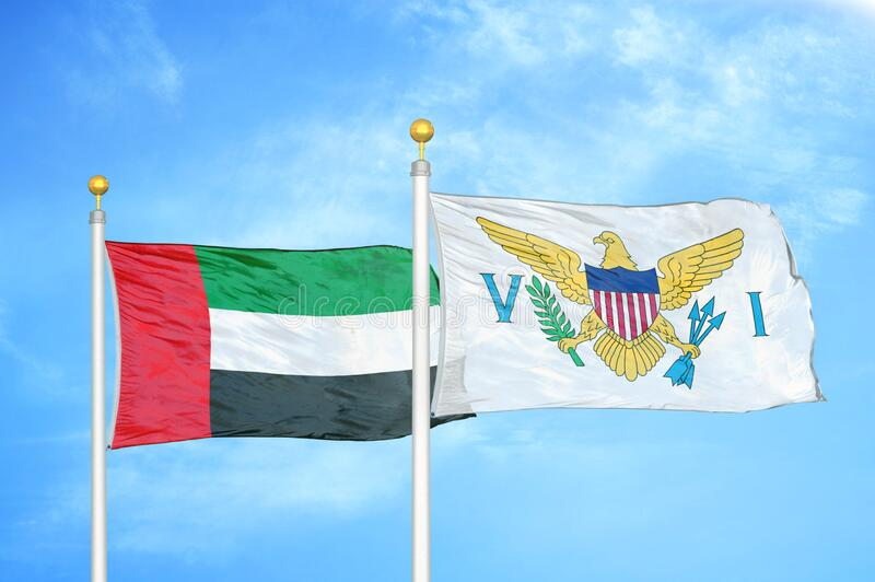 United Arab Emirates and Virgin Islands United States two flags. On flagpoles stock illustration