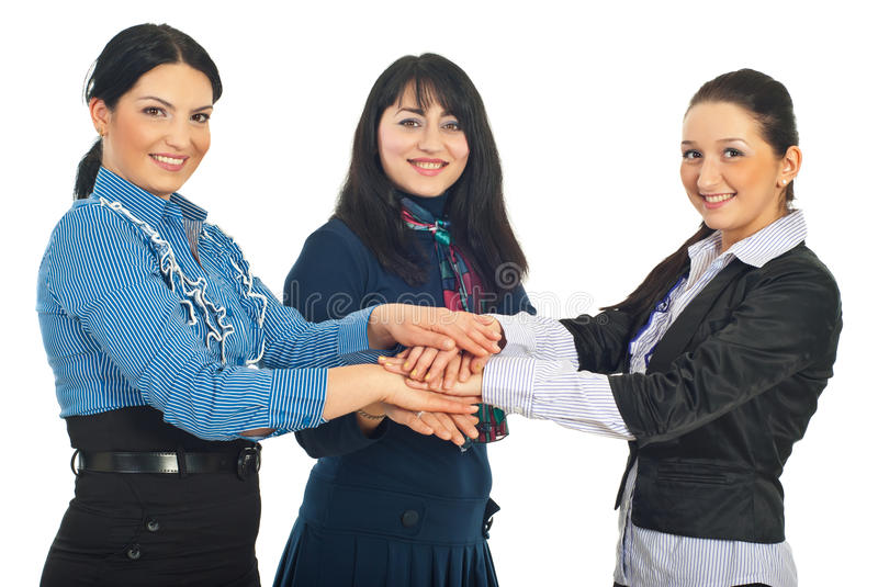 United busienss women with hands together