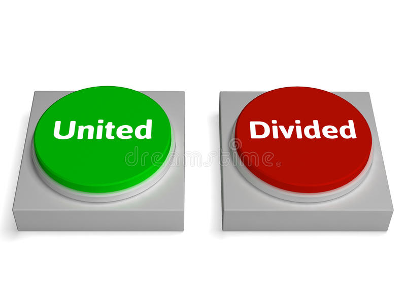United Divided Buttons Show Unite Or Divide vector illustration