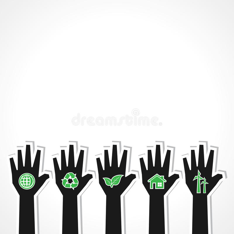 United for ecology concept with hands royalty free illustration