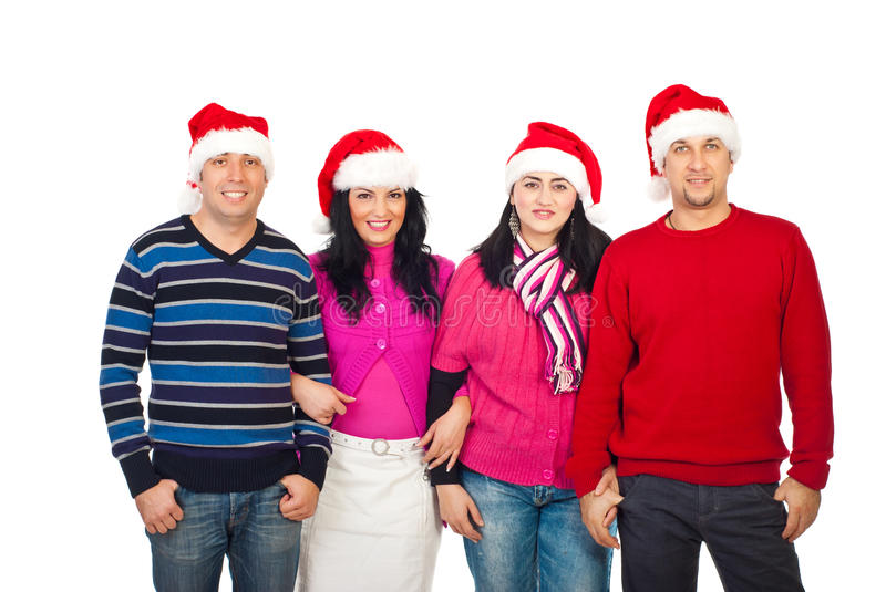 United Friends With Santa Hats Stock Photography