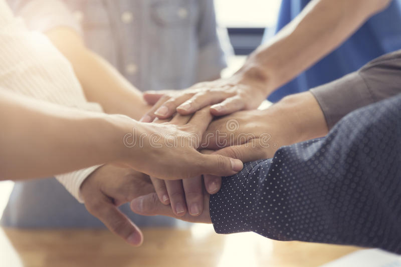 united hands for cooperation and teamwork concept royalty free stock photo