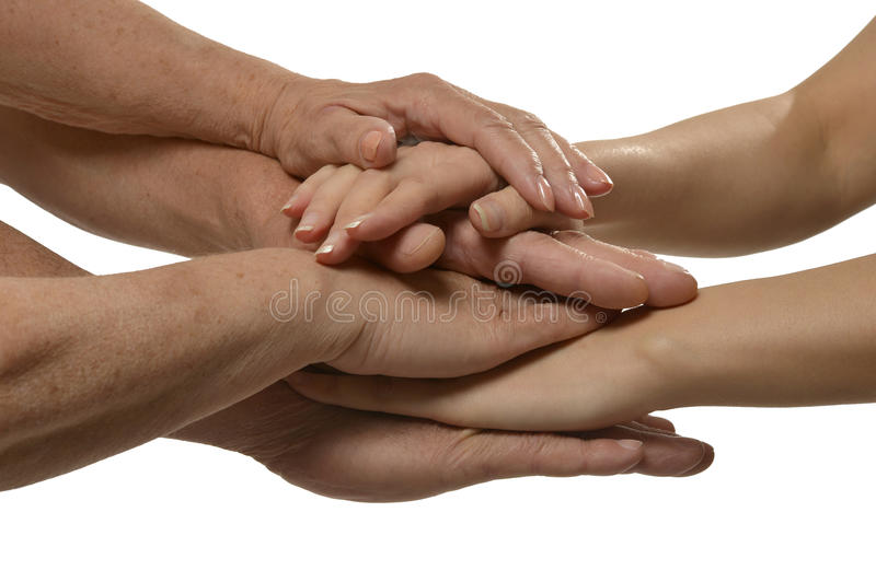 United hands on a white royalty free stock images