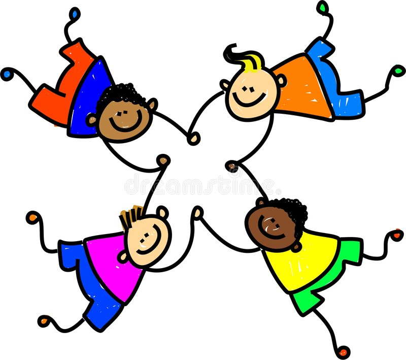United kids. Group of four happy mixed race boys holding hands - toddler art series stock illustration