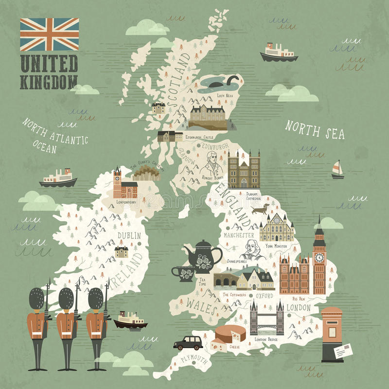 download united kingdom attractions travel map stock