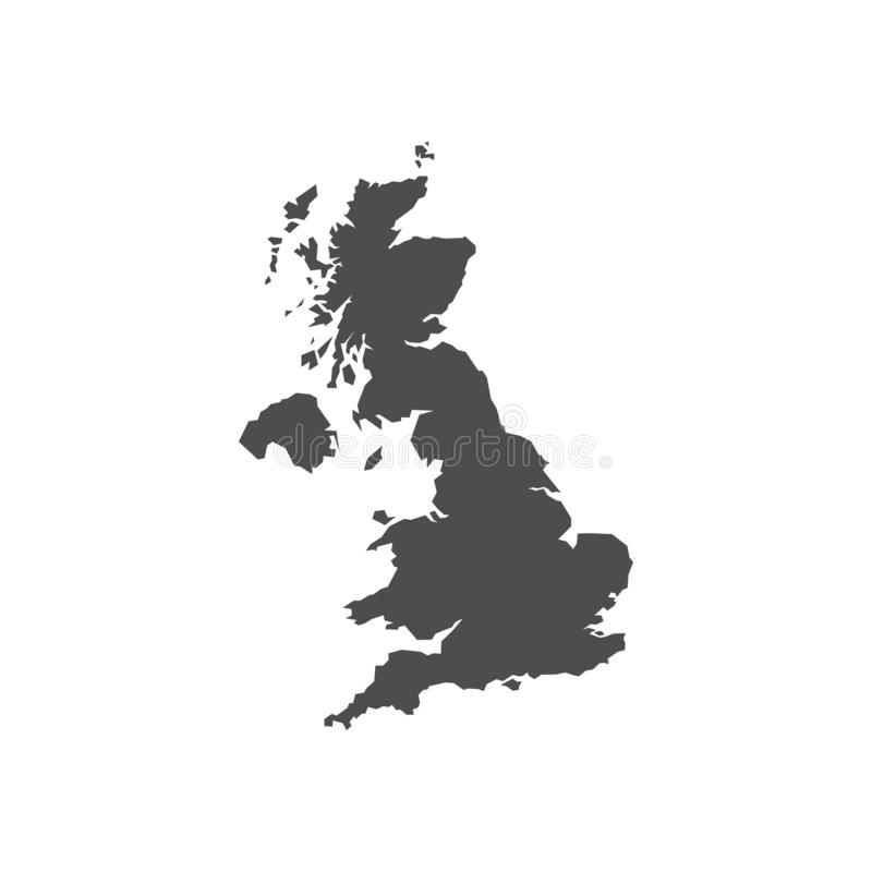 United Kingdom black blank map vector illustration