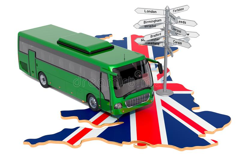 The United Kingdom Bus Tours concept. 3D rendering. Isolated on white background vector illustration