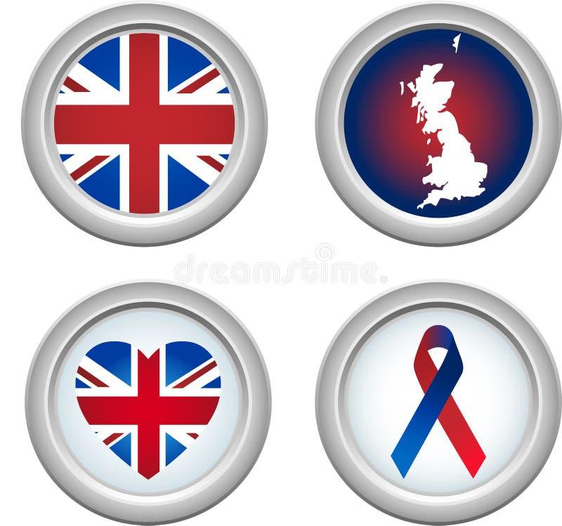 United Kingdom Buttons royalty free illustration