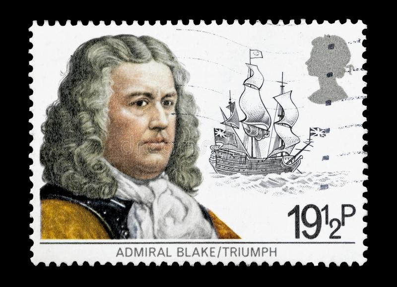 Admiral Robert Blake. United Kingdom - circa 1982: Mail stamp printed in the UK featuring 17th century Naval tactician Admiral Robert Blake and his flagship stock image