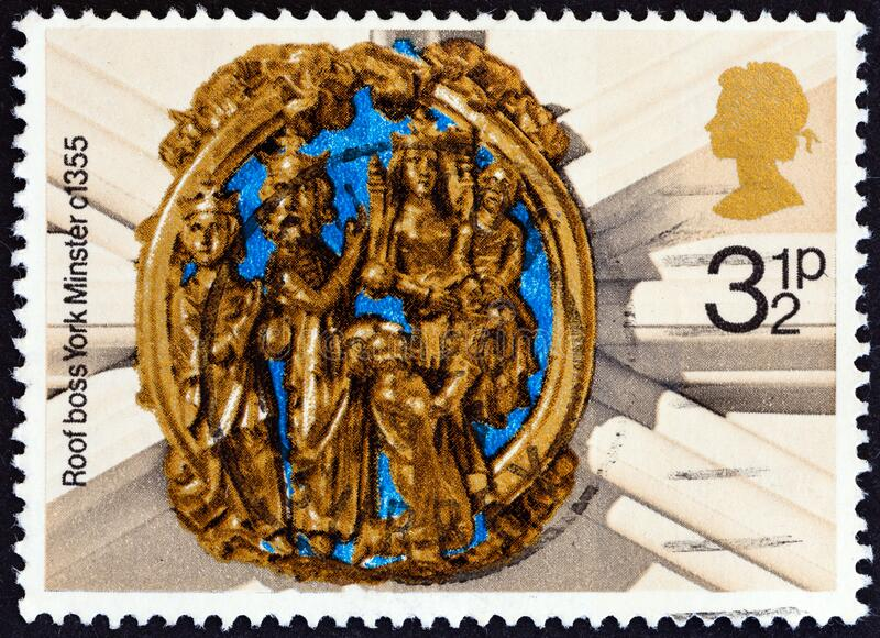 UNITED KINGDOM - CIRCA 1974: A stamp printed in United Kingdom shows Church Roof Boss, Adoration of the Magi York Minster, c.135. UNITED KINGDOM - CIRCA 1974: A stock image