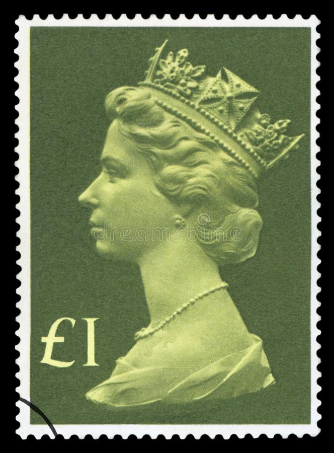 UK - Postage Stamp. UNITED KINGDOM - CIRCA 1977: A stamp printed in United Kingdom shows Queen Elizabeth II, circa 1977 stock photo