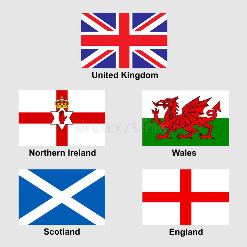 United Kingdom Collection Flags Stock Vector