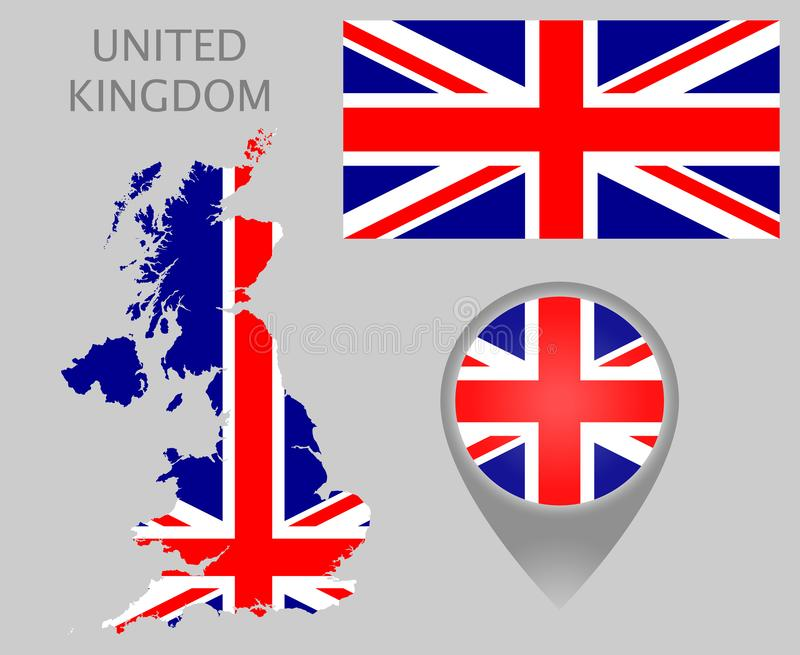 United Kingdom flag, map and map pointer. Colorful flag, map pointer and map of United Kingdom in the colors of the UK flag. High detail. Vector illustration vector illustration